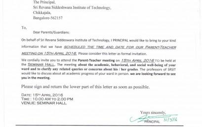 Srsect sri revana siddeshwara institute of technology page 2 our parent teacher meeting on 15 th april 2016 altavistaventures Choice Image
